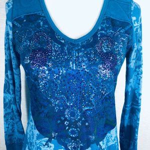 ONE WORLD Tops - One World Live Let Live Blue Knit Top Pullover S